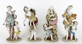 A set of four late 19th century Continental porcelain figures emblematic of the seasons