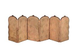 A late 19th century French walnut framed six fold table-top screen