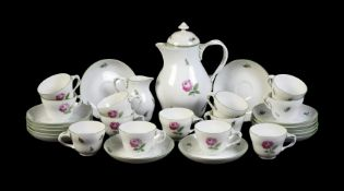 A modern Vienna part coffee service painted with pink roses
