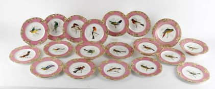 A Victorian porcelain part ornithological service