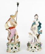 A pair of Continental porcelain mythological figures in the 18th century Chelsea Style