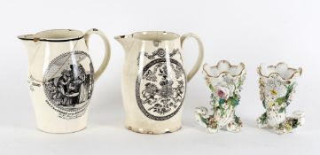 An early 19th century Liverpool creamware jug printed with the 'Gretna Green Or The Red-hot Marriage