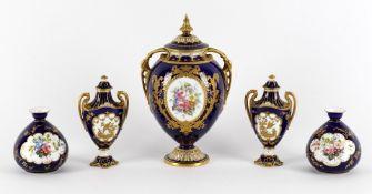 Royal Crown Derby porcelain including a blue ground oviform two handled vase
