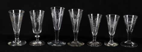 18th century glass including a dwarf ale glass with hop and barley motif