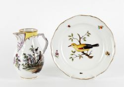 A late Meissen plate painted with a gold oriole
