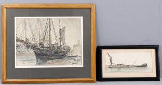 λ Claude Muncaster (1903-1974), Study of a moored sailing boat 'Florence Vivian'