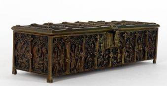 A late 19th century Gothic Revival bronze casket or jewellery box