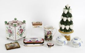 Decorative ceramics including a pair of Japanese blue and white porcelain reticulated censors and co