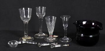 Glass to include a George II wine glass