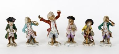 Matched set of six 'monkey band' porcelain figures in the Meissen manner