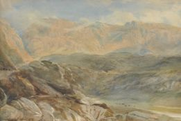 Attributed to David Cox Jnr (British 1809-1885) , 'Mountain landscape'