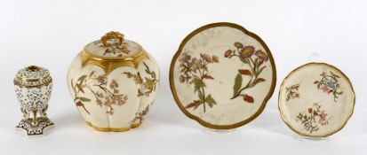 A Royal Worcester lobed jar and cover and quatrefoil stand