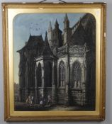 19th Century French School, 'Figures by a gothic cathedral'