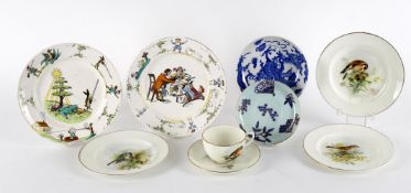 Decorative ware to include William Powell Royal Worcester cup and saucer decorated with goldfinch