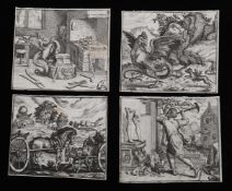Ten late 16th/early 17th century trimmed engravings including 'A cockatrice being attacked'