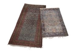 Two Persian carpets including a Kashan style 'tree of life' prayer rug