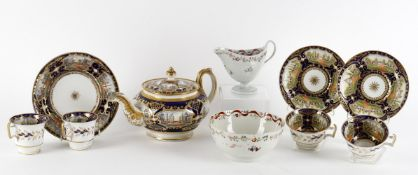 Early 19th century English tea wares to include a Newhall style helmet shaped cream jug
