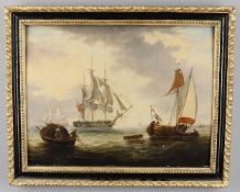 Continental School in the early 19th Century manner, 'French fishing boats'