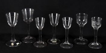 18th century wine glasses to include five plain stemmed wine glasses