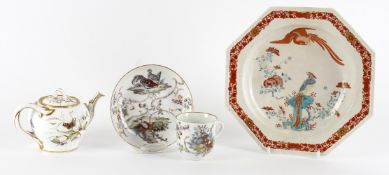 Decorative ceramics including an 18th century Meissen coffee cup and saucer