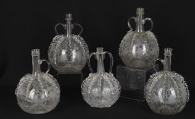 Five 19th century Dutch glass 'Bruidsfles' decanters