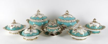 A Minton pale turquoise ground part dinner and dessert service