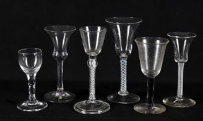 Six 18th century wine glasses with assorted twist stems