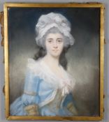 19th century Anglo-Franco school, 'Portrait of a young woman in 18th century dress'