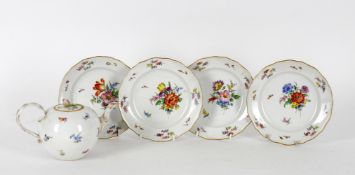 Meissen porcelain including a floral decorated teapot and cover