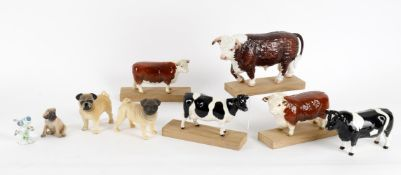 A selection of ceramic animals and birds including Beswick