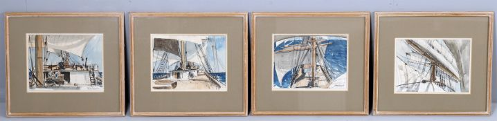 λ Claude Muncaster (1903-1974), A set of four sketches of scenes aboard a sailing boat