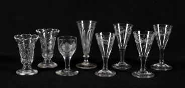 Late 18th/early 19th century drinking glasses including a dwarf ale glass