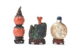 Y A Mongolian coral and silver mounted snuff bottle