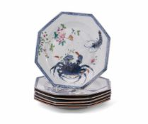 An unusual set of six Chinese Export Famille Rose 'Crab and Prawn' plates