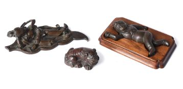 An attractive Chinese bronze Buddhist lion scroll weight