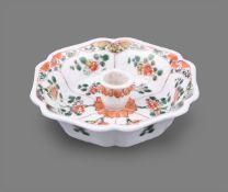 A rare Chinese porcelain famille verte fluted hexagonal chamber stick