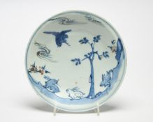 A blue and white and copper red Ko-Sometsuke saucer dish