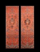 A fine pair of Chinese silk embroidered chair covers