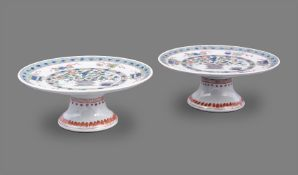 A rare pair of Chinese porcelain famille verte cake stands