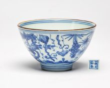 An unusual Chinese blue and white wine cup