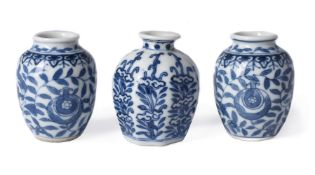 A pair of Chinese miniature blue and white vases
