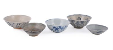 A group of five Ming blue and white bowls