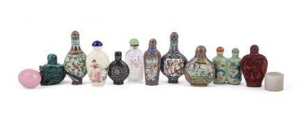 A group of nine Chinese snuff bottles