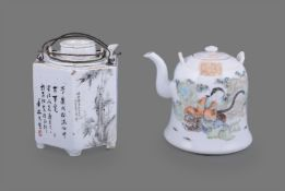 Two Chinese qianjiang-enamelled teapots