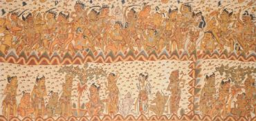 A large painted cloth narrative hanging (ider-ider)