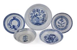 Five Chinese Ming blue and white dishes
