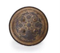 A Qajar gold damascened steel shield