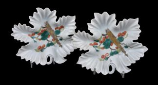 A pair of leaf-shaped porcelain dishes