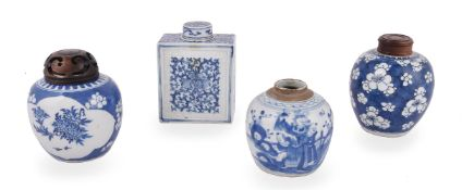 A Chinese large blue and white tea caddy