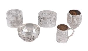 A group of Chinese export silver wares